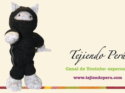 Tutorial cómo tejer un gato ninja en dos agujas o palitos (ropa)