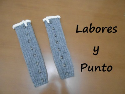 Aprende a tejer unos calentadores con botones o calcetines sin pie en dos agujas