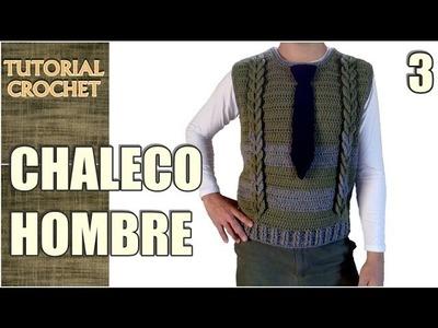 Chaleco para hombre tejido a crochet, paso a paso, patrón, tutorial (3 de 4)