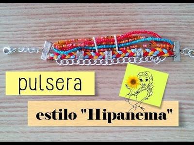 """♞ Cómo hacer una pulsera estilo """"Hipanema"""" con hilo, cuentas y cadena de eslabones"""