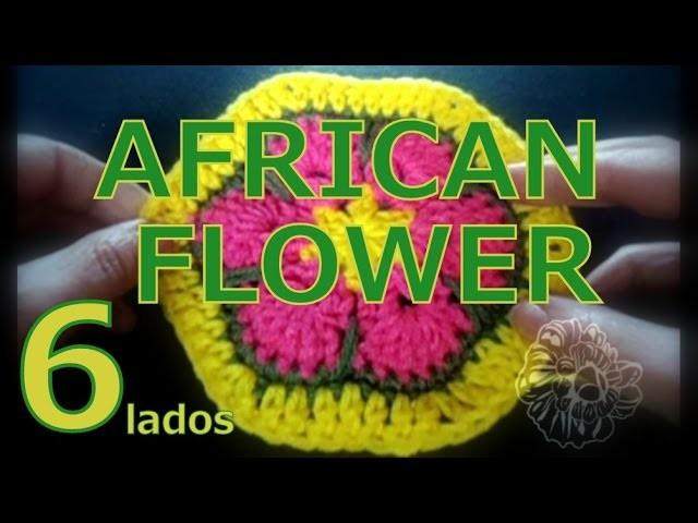 Cómo tejer una flor africana hexagonal (african flower hexagon) -tejido para zurdos-
