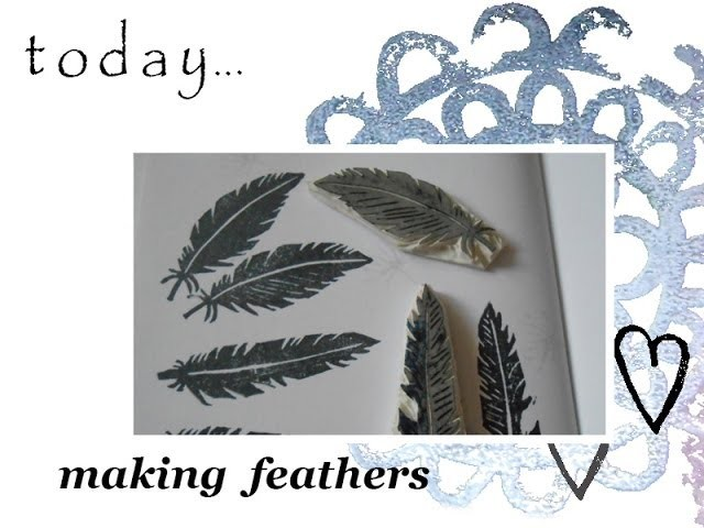 Handmade rubber stamps: feathers