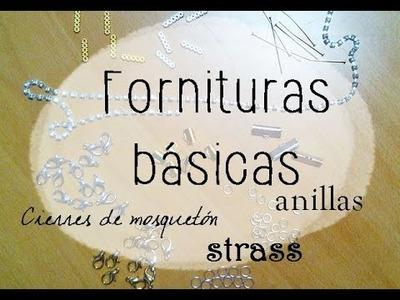 ❥ Materiales de bisutería | FORNITURAS | Básicos DIY | Strass, cierres de mosquetón, anillas . .