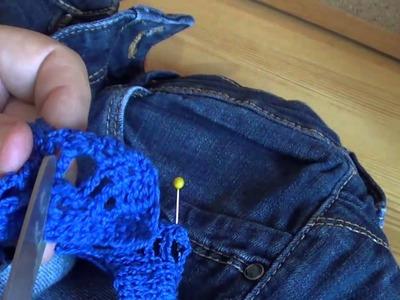 Pantalón tejano con cenefa de crochet