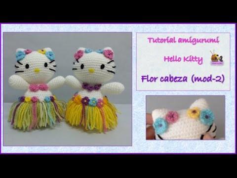 Tutorial amigurumi Hello Kitty - Flor cabeza (mod-2)