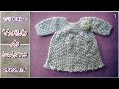 Vestido de invierno a crochet para bebe, tejido paso a paso (1 de 2)