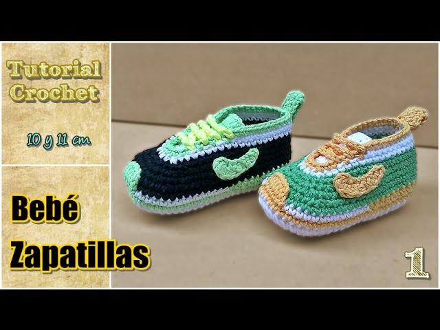 Zapatitos para bebé a crochet, talle 10 y 11 cm - Paso a paso - 1de2