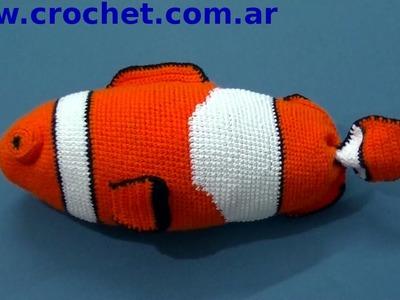 Amigurumi Pez Payaso en tejido crochet tutorial paso a paso.