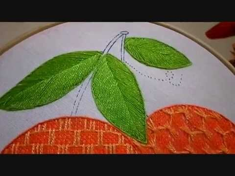 Bordado Fantasía Hoja Naranja # 2