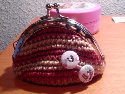 Como hacer un Monedero con boquilla redonda paso a paso en español a ganchillo o crochet
