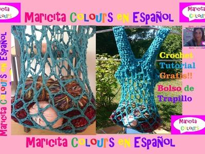 "Crochet Bolso Trapillo ""Turquesa"" (Parte 1)  por Maricita Colours"