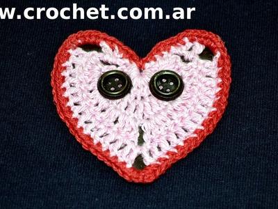 Iman Mini Corazon para heladera en tejido crochet tutorial paso a paso.