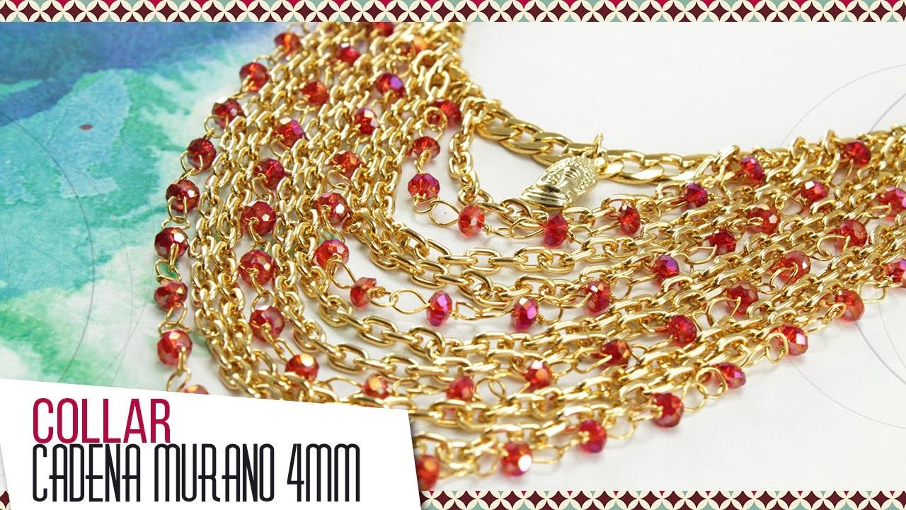 Kit 26282 Collar con murano rojo y cadena | VARIEDADES CAROL