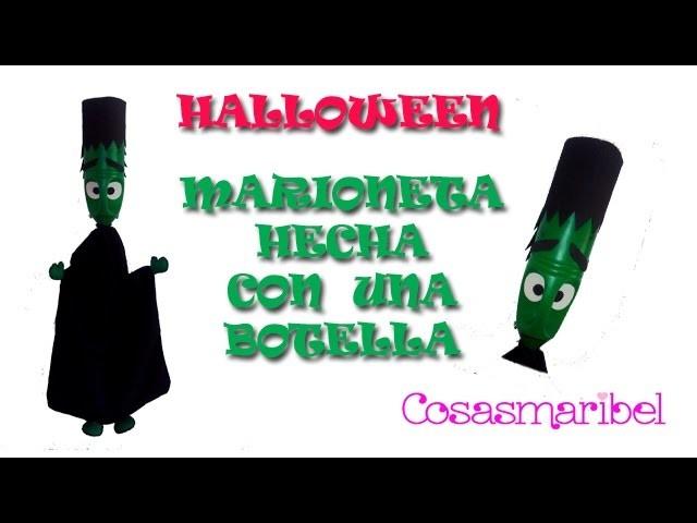 Manualidades para Halloween. Como hacer marioneta de Frankenstein con una botella (reciclaje).
