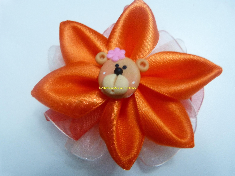 Moños con flores   faciles en  cinta para el cabello paso a paso. Manualidades la hormiga