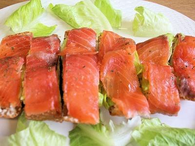 Pan de cristal con salmón. Tapas y pinchos #1