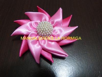 Tutorial facil de flores en punta cinta raso para decorar ganchos moños diademas  vídeo 185