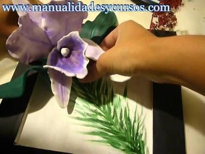 Como hacer Cuadro 3d con flores de goma eva o foamy