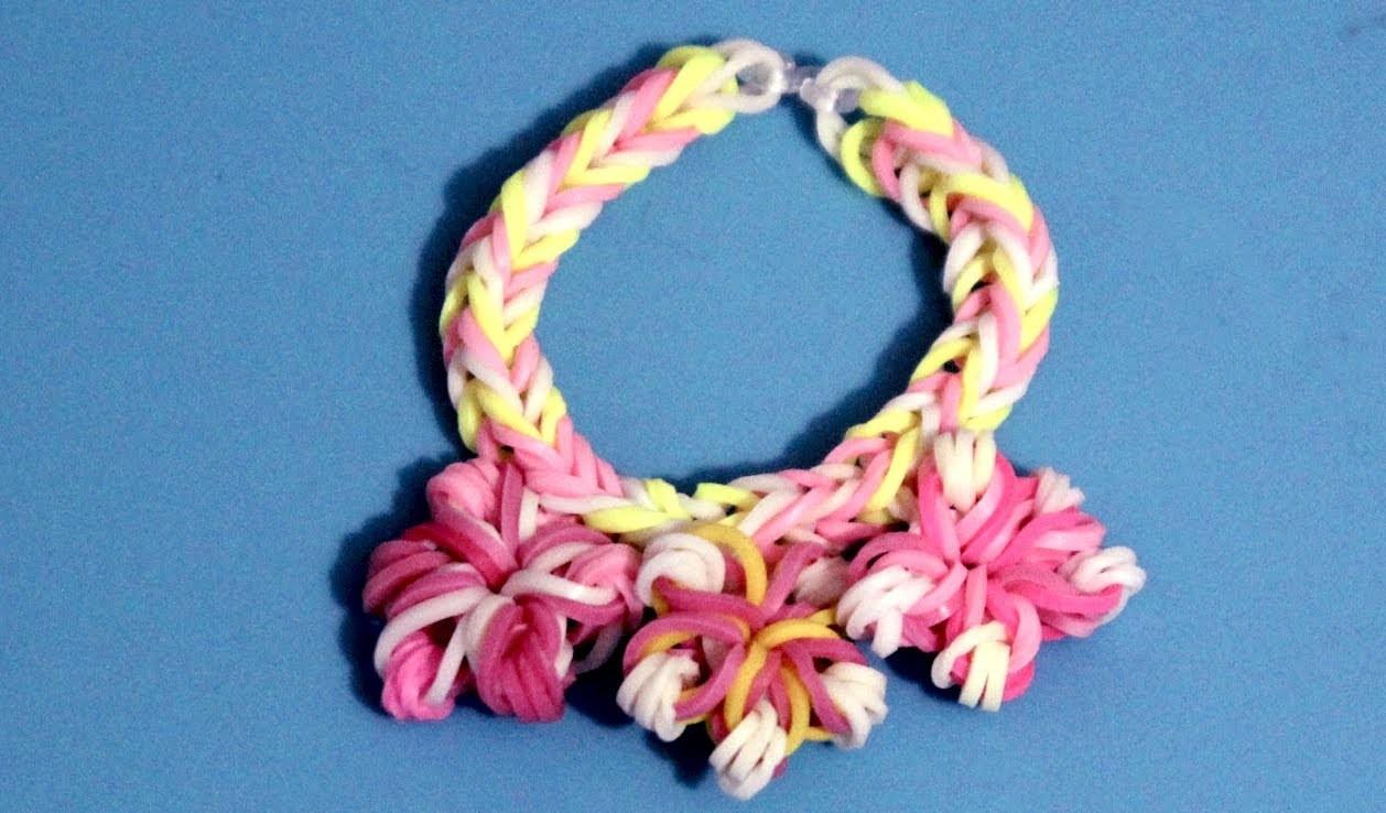 Cómo hacer pulsera con gomitas y flores. Flower rainbow loom bracelet