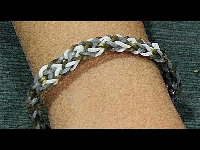 Comó hacer pulsera de gomitas inversa sin telar. Rainbow loom bracelet