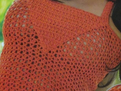 Como tejer blusa punto calado a crochet con tirantes