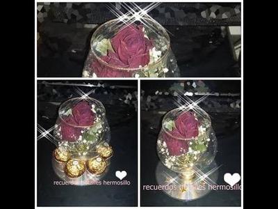 DIY Como hacer copa con botellas de resfresco  pet y rosas deshidratadas