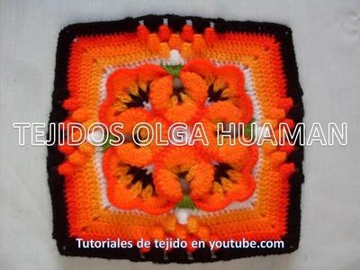 Muestra para colcha tejido a crochet  pensamiento pequeño, video 2