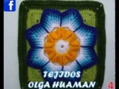 Muestras de flores tejidas a crochet para colchas