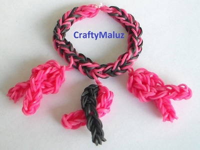 Pulsera De Gomitas Simbolo Del Cancer De Mama. Rainbow Loom Breast Cancer Ribbon Charm & Bracelet