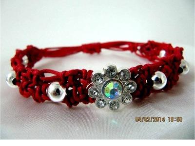 Pulseras bracelets macramé en piedra  flor de strass y billas