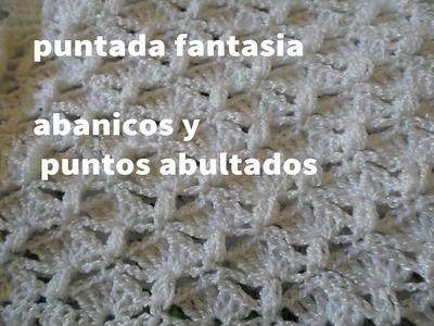 PUNTADA FANTASIA A CROCHET, ABANICOS Y PUNTOS ABULTADOS (PUNTADA PARA EL VESTIDO)