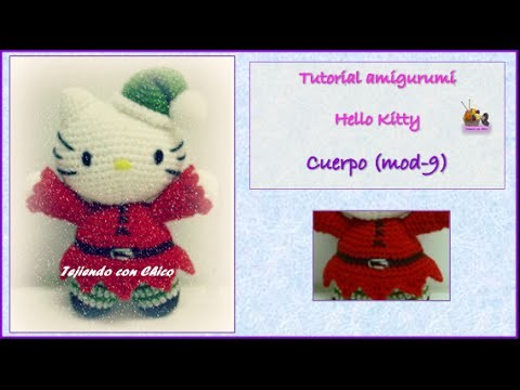 Tutorial amigurumi Hello Kitty - Cuerpo (mod-9) (English subtitles)