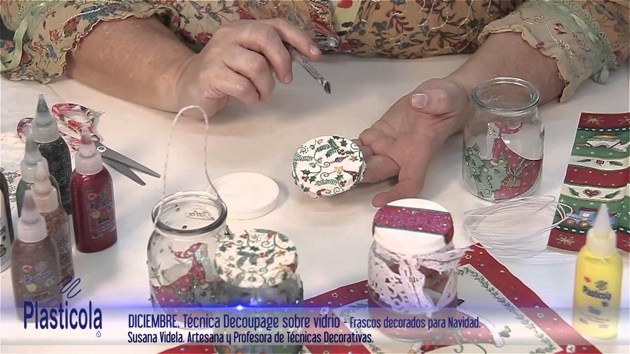 Artesanías - Decoupage sobre vidrio, empleando Plasticola
