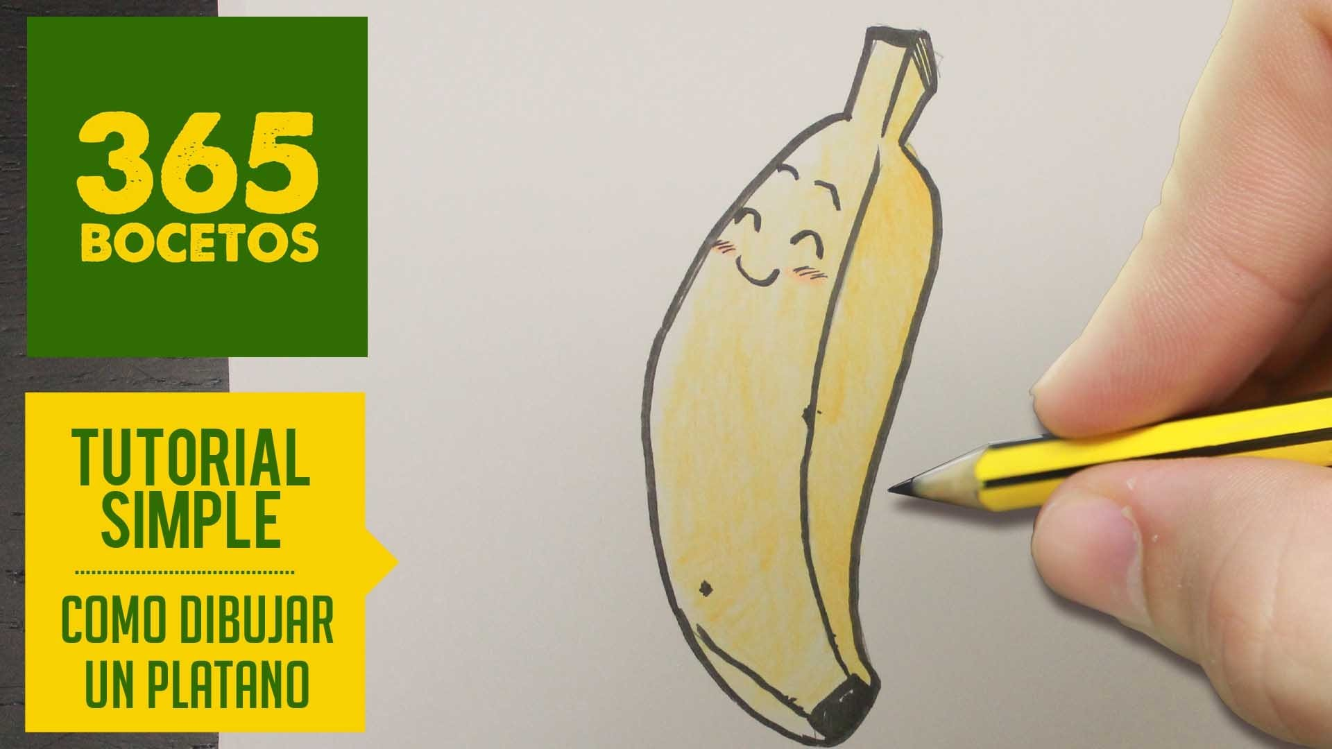 COMO DIBUJAR UN PLATANO KAWAII PASO A PASO - Dibujos kawaii faciles - How to draw a banana