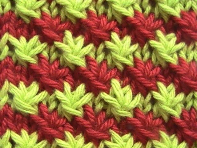 Como Tejer Punto Fantasía de Flores 2 Colores 2 Agujas (9)