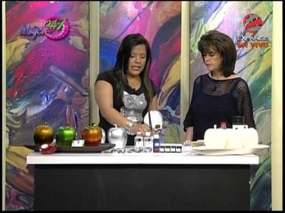 Manualidad en cerámica Centro de mesa, manzanas con tintas