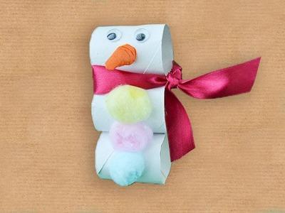 Muñeco de nieve de Navidad. Manualidad reciclada
