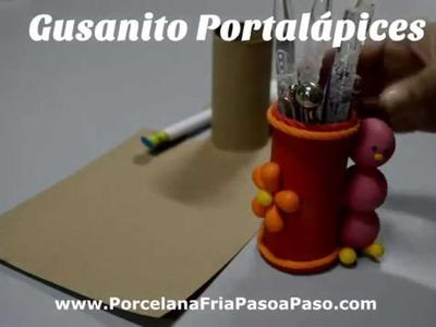 Porcelana Fria: Gusanito Portalápices (1.2) en Porcelana Fria