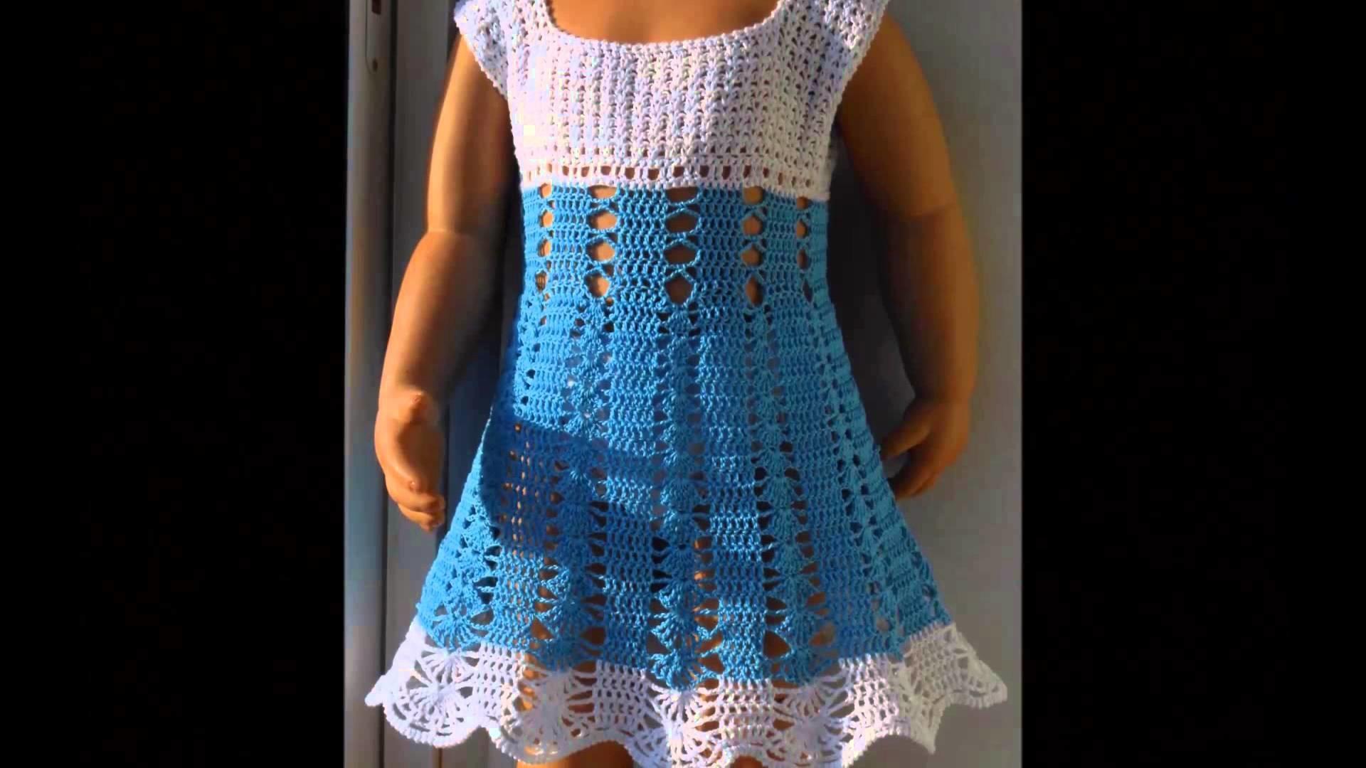 Vestidos tejidos a crochet para niñas de 5 y 6 años