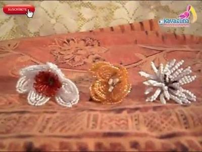 3 Opciones de preciosas flores de chaquira. mostacillas