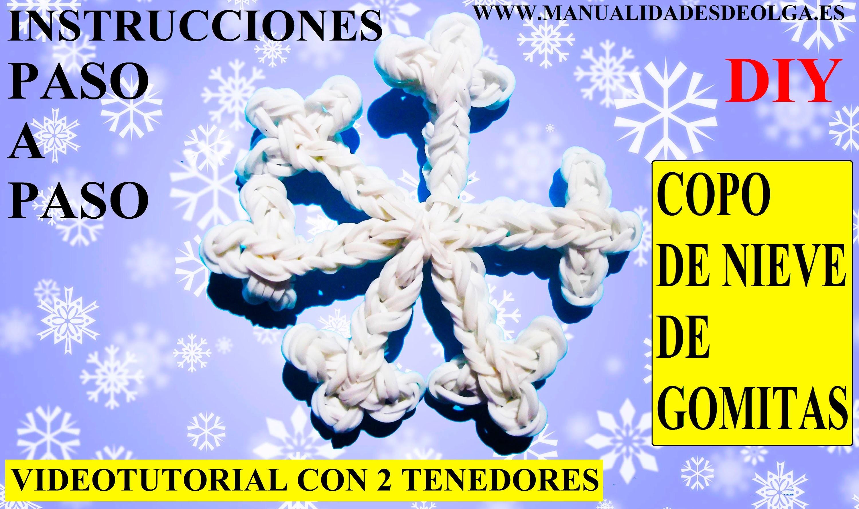 COMO HACER UN COPO DE NIEVE DE GOMITAS (LIGAS) CHARMS CON DOS TENEDORES. PARA NAVIDAD