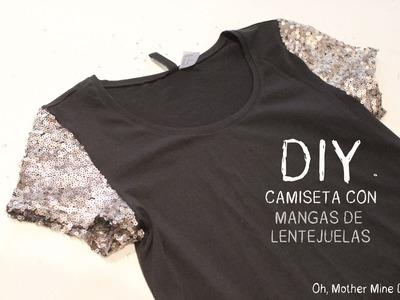 DIY: Camiseta con mangas de lentejuelas