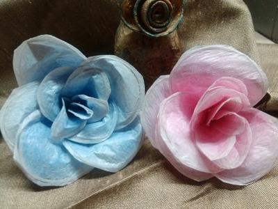 DIY. How to make flowers from plastic bags. Flores con bolsas de plástico