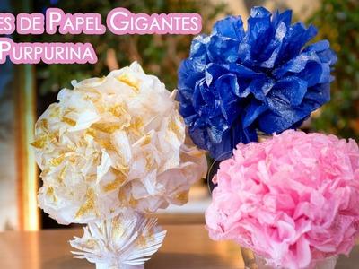 Flores de Papel con Glitter Gigantes para Centro Mesa o Decoracion