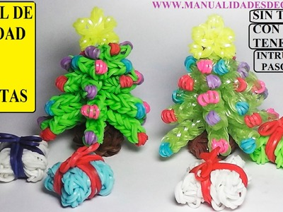 Manualidades navideñas. Como hacer un arbol de navidad 3D de gomitas sin telar, con tenedores.
