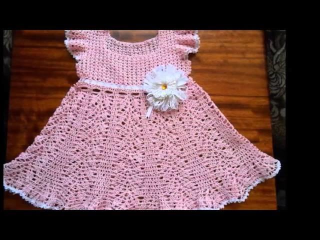 Modelos de vestidos para bebe tejidos a ganchillo