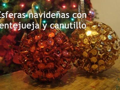 Cómo hacer: Esferas Navideñas con lentejuela y canutillo