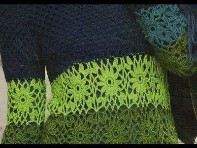 Como Tejer Jersey largo combinación de colores con cuadros a crochet
