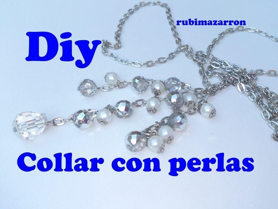Diy. Collar de abalorios con perlas y cuendas de cristal.