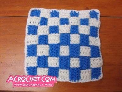 Haciendo un cuadrado de tiras en crochet